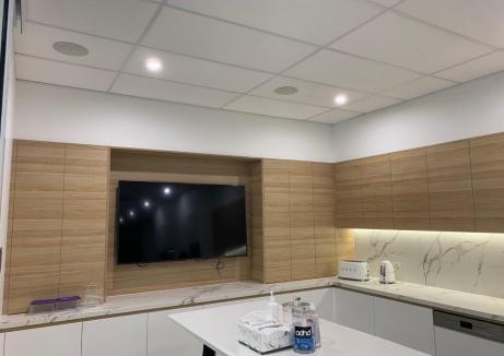 Flat TV Installed In The Office Pantry - Plasterboard Works - TM Linings