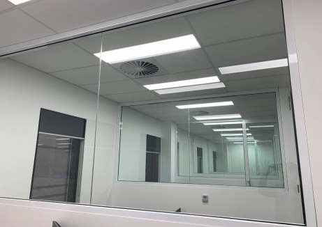 Half Glass Office Wall - Plasterboard Repairs - TM Linings