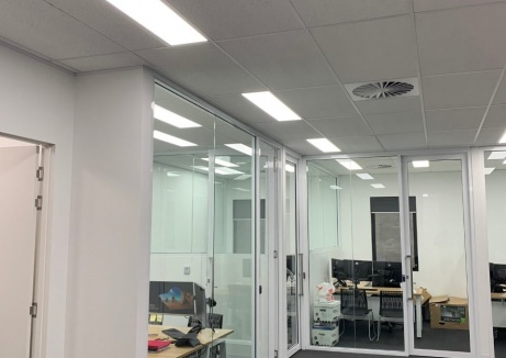 Office Space With Glass Walls - Plasterboard Works - TM Linings